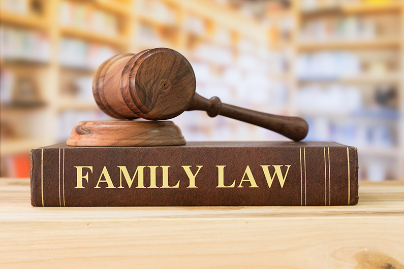 Family Law book and judge's gavel